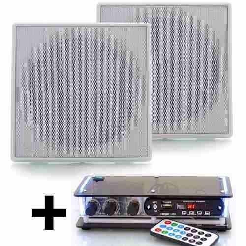 Kit Som Ambiente Amplificador Usb Fm Bluetooth + 4 Arandelas