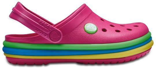 Zapato Crocs Unisex Infantil Crocband Rainbow Band Clog Rosa