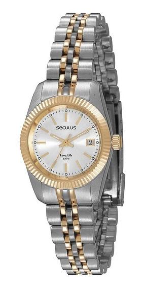 Seculus Relógio Long Life Prata Detalhe Aço Dourado