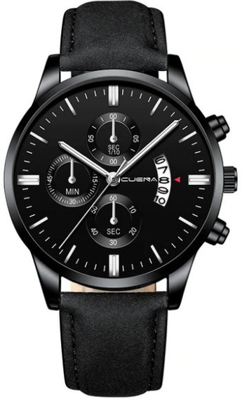 Relógio Masculino Preto Aço Inoxidável Pulseira Couro Social