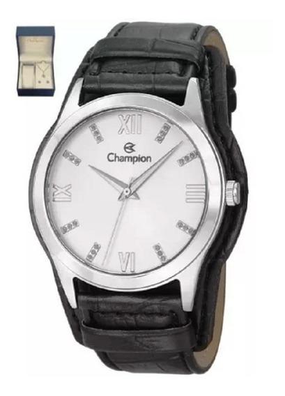 Relógio Champion Feminino Pulseira Couro Preto Cn20346c