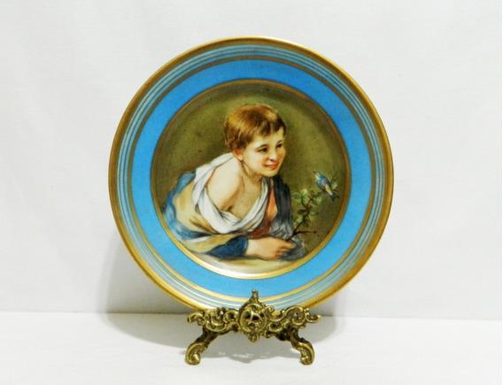 Plato Decorativo Porcelana Francesa Firmado De 21,5 Cm