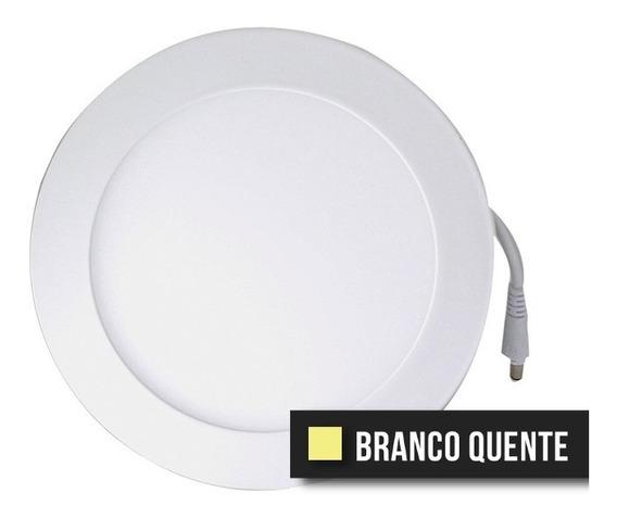 Kit C/3 Painel Plafon Led Redondo 9w Branco Quente Bivolt