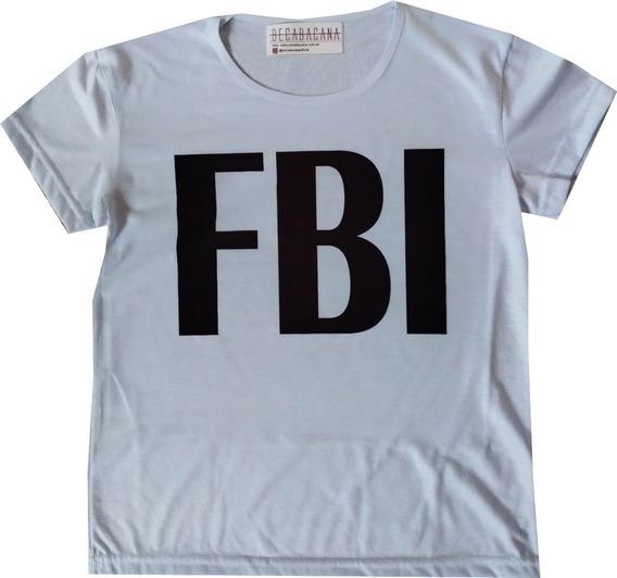 Camiseta Feminina Blusa Baby Look Police Usa Fbi Barato!