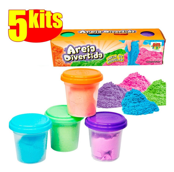 Massinha De Modelar 20 Potes Massa Areia Divertida Colorida