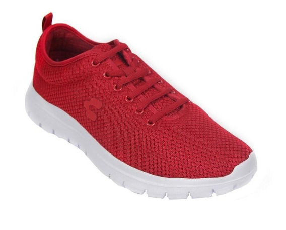 Tenis Hombre Caballero Textil Rojo Charly Deportivo Cómodo