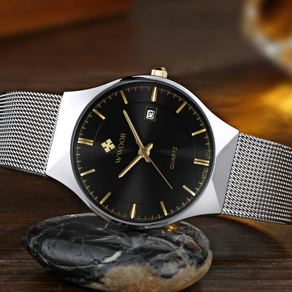 Relógio Masculino Wwoor Original Fino Em Inox À Prova D