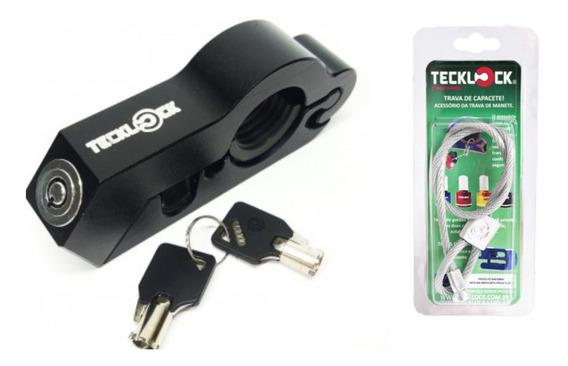 Trava Manete Moto Teck Lock Anti Furto + Trava De Capacete .