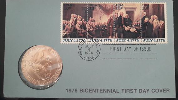 1776 - Revolução Americana - Selos E Moeda Comemorativa