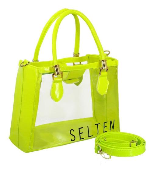 Bolsa Transparente Feminina Transversal Neon Super Oferta