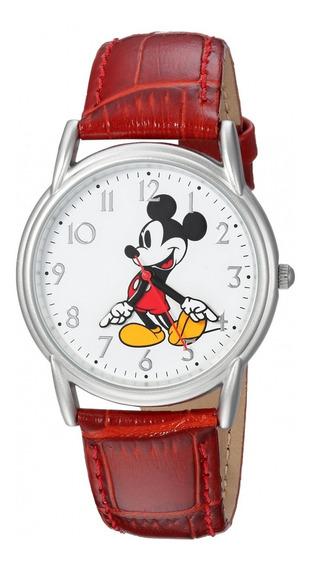 Reloj Analogico Disney Mickey Mouse Sintetica Rojo Hombre