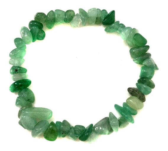 Pulseira Cascalho Pedra Cristal Natural Quartzo Verde