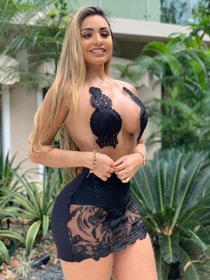Vestido Bordado Balada Festa Sexy Decote Panicat