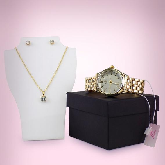 Relógio Feminino Original Orizom Dourado + Colar E Brinco