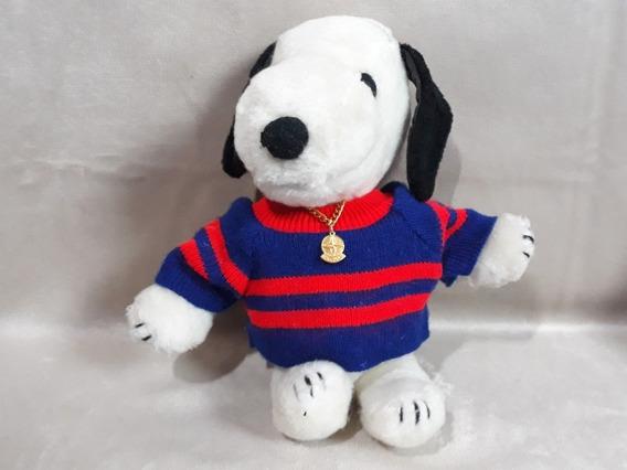Snoopy Antigo Estrela Pelúcia C/ Corrente Tamanho 25 Cm Raro