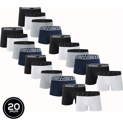 Kit Com 20 Cuecas Boxer Brief Cotton - Duomo