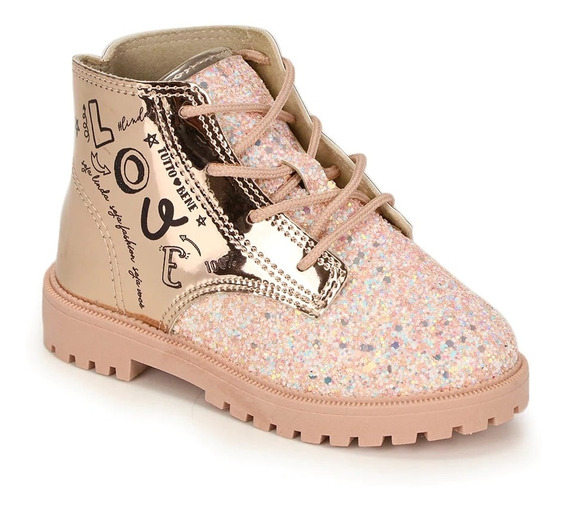 Bota Infantil Cano Curto Glitter Menina Molekinha 2126102