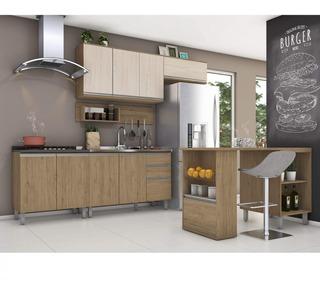 Cozinha Completa Balcão Com Tampo Para Cooktop E Ilha Fi