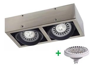 Aplique Plafon Box Cardanico 2 Luces Led Lampara Ar111 24w
