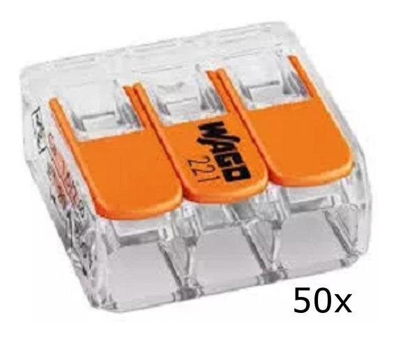 Conector Wago Compacto Emenda 3 Fios Modelo 221-413 - 50unid