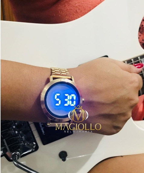 Relógio Feminino Dourado Aço Digital Led Azul Fashion Fit Eubj3407aa/t4p Original Troca Pulseira Silicone Preta