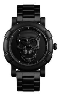 Reloj Hombre Skmei 9178 Rock Calavera En Acero Negro Gtia
