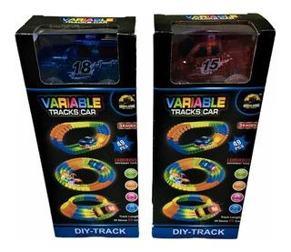 Pista Flexible Autos Variable Tracks Car Luces Led 49 Pzas