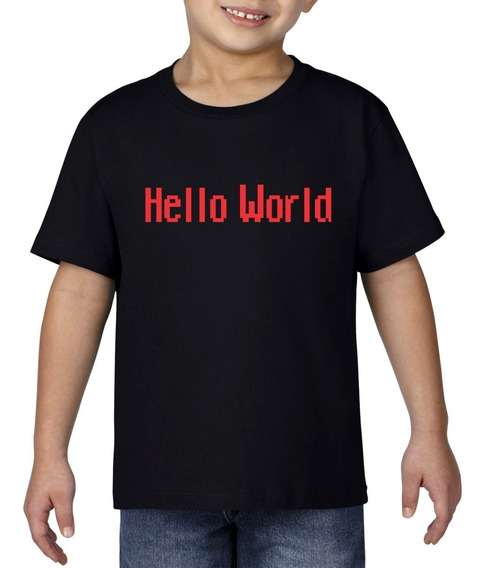 Camiseta Playera Bebe Niño Geek Programador Hello World Rojo