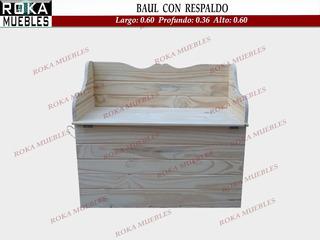Baul Con Respaldo Asiento Pino 0.60 Roka