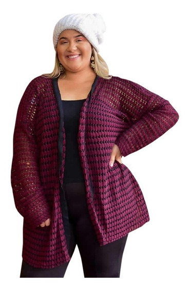 Cardigan Quadradinho Feminino Tricot Plus Size 46 A 54