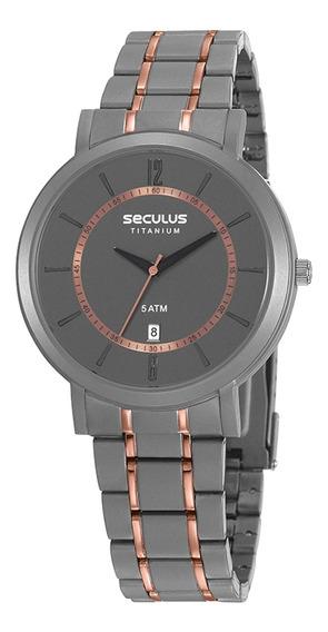 Relógio De Pulso Seculus Titanium 23682gpsvbt1 - Cinza