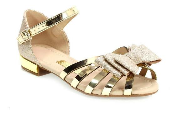 Sandália Menina Glamour Glitter Dourado Molekinha