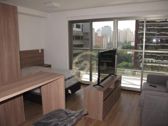 Studio Mobiliado Em Pinheiros Para Alugar, 31 M² Por R$ 4.200/mês - São Paulo/sp - St0296