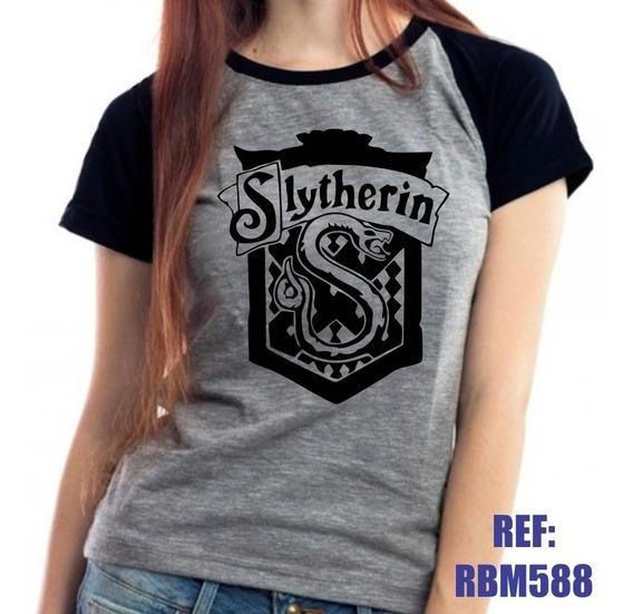 Camiseta Raglan Baby Look Harry Potter Sonserina Mescla