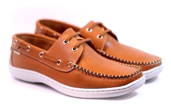Zapatos Darmaz 272 Náuticos Cuero Marrón Azul