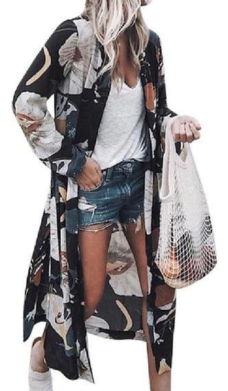 Maxi Cardigã Kimono Longo Estampado Floral