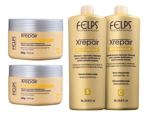 Felps Kit Xrepair Bio Molecular 2x1l + 2 Máscaras 300g