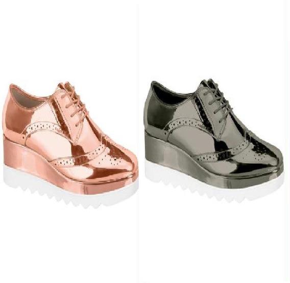 Sneaker Tenis Femenino- Flatform Oxford Metalizada Tratorada
