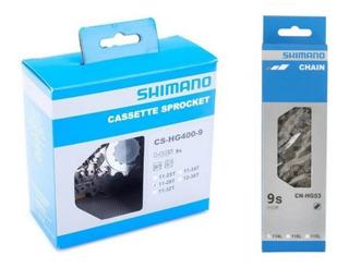 Cassete Shimano Hg400 11-28 9v + Corrente Hg53 9v Speed Sora