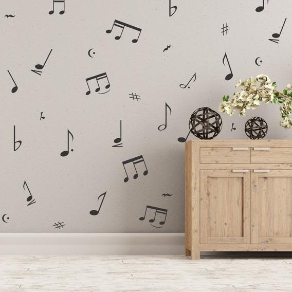 Vinilo Decorativo Set Notas Musicales Pared Muebles Tramas
