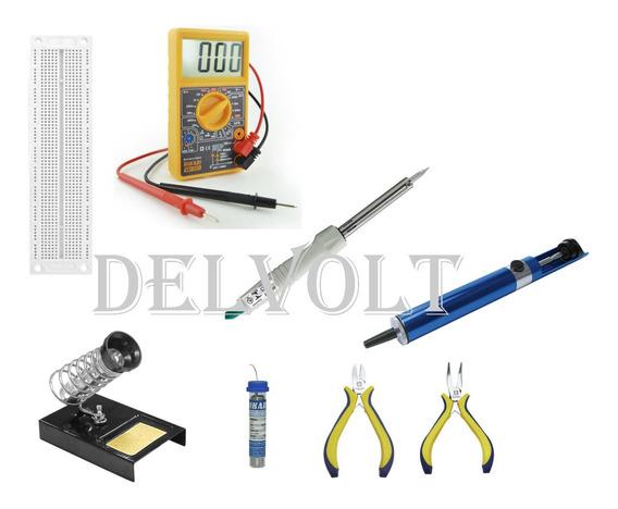 Multimetro+ferro+suporte+solta+sugador+alicates+protoboard