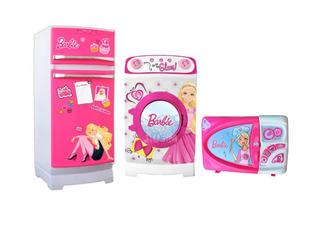 Barbie Combo Heladera Lavarropas Microondas Lelab Edicion A