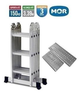 Escada 4x3 12 Degraus Multifuncional Com 2 Plataformas Mor