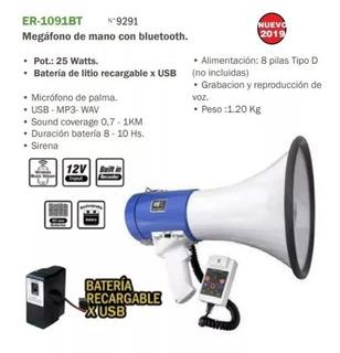 Megafono 50watts Na Er-1091bt Recargable Usb Bluetooth Mic