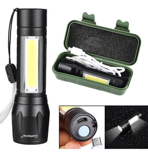 Lampara Tactica Recargable Led 2000l Linterna Lateral Usb