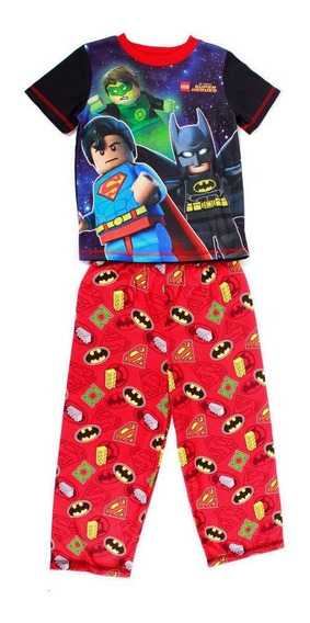 Pijama Lego Batman And Super Man Color Azul Y Rojo Para Niño