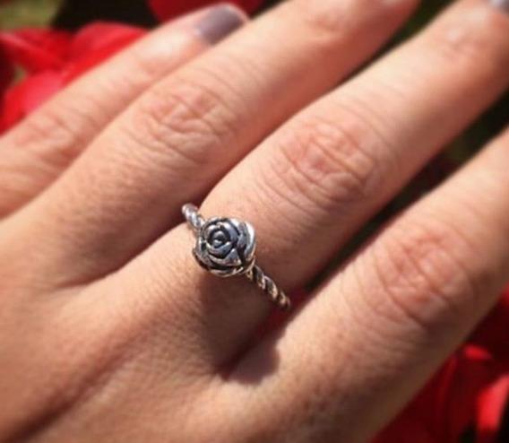 Anel Rosa Rosinha Em Prata 925 Maciça Estilo Pandora