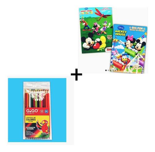 Kit Cartillas Libros Para Colorear X2 + 12colores Doble Punt