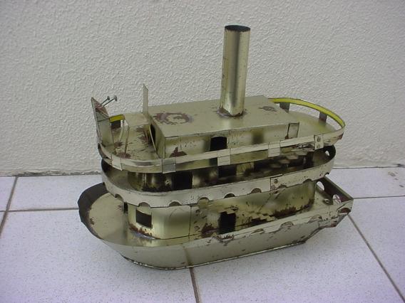 Antigo - Barco Á Vapor Feito Em Lata Da Decada 60 !!!