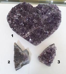 Lote Com 3 Pedras Naturais Ametista Para Colecionadores 3